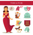 Theater or opera flat icons singer ballet vector image
