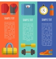 Fitness and a healthy lifestyle banners set vector image
