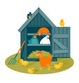 henhouse on a green lawn vector image