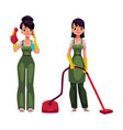 cleaning service girls in overalls with vacuum vector image