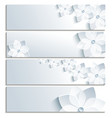 Set of horizontal banners grey with sakura vector image vector image