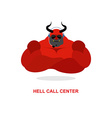 Hell call Center Satan with headset Devil responds vector image
