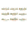 Set of 9 Abstract Europe City Skyline vector image