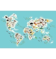 Cartoon animal world map for children and kids vector image