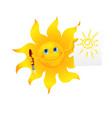 Funny cartoon sun painted picture vector image