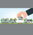 human hand select to holding a right house vector image