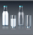 realistic glass bottles and glasses with milk vector image