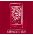 red valentine card with smartphone and roses vector image