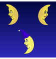 Serious moons set vector image