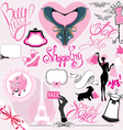 Set of Silhouettes of glamor clothes and accessori vector image