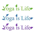 Yoga text - yoga is life vector image