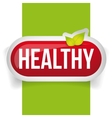 Healthy button with leaves vector image