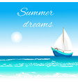 sea view with sailboat and sun vector image