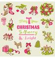 Christmas Card - with set of hand drawn christmas vector image vector image