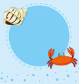 Border design with shell and crab vector image