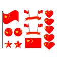 china flag set collection of symbols flag vector image