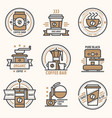 coffee logo badge monogram design cafe sign vector image