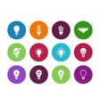Light bulb and CFL lamp circle icons vector image