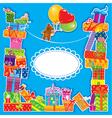 baby birthday card with teddy bear vector image