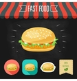 Chicken burger icon on a chalkboard Set of icons vector image