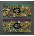 design banner templates set with doodles vector image