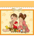 girl and boy plays with toys vector image