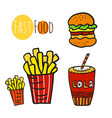 hand drawn fast food set doodle street food fries vector image