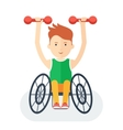 Handicapped athlete with dumbbells vector image