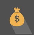 money bag flat icon with long shadow on blue gray vector image