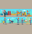 petrochemical industry characters horizontal vector image