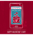 red valentine card with smart phone vector image