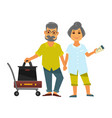 senior couple holding hands stands near bags for vector image