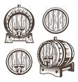 Set of vintage wooden barrels vector image
