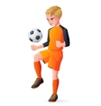 young football or soccer player boy playing vector image