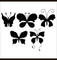 set of silhouettes of cute cartoon butterfly vector image