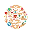 Charity Icons Flat Round Set vector image