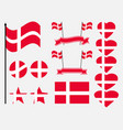 denmark flag set collection of symbols flag vector image