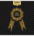 Gold glitter icon of ribbons award isolated vector image