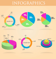 Pie round chart infographics set colorful vector image