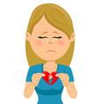 young unhappy sad woman with a broken heart card vector image