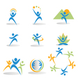 Health nature yoga business social icons logos vector image vector image