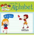 Flashcard alphabet M is for mitten vector image