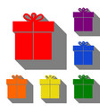 gift sign set of red orange yellow green blue vector image