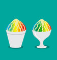 hawaiian shave ice with rainbow color vector image