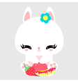 Cute little bunny with sweets and fruits Macaroon vector image