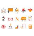 orange education icons set vector image