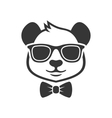 Panda Portrait in a Glasses with Bow Tie vector image