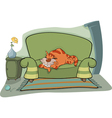 Cat on a sofa vector image