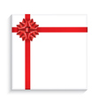 Gift Box with Red Bow Ribbon vector image vector image