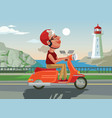 happy smiling old woman character drive scooter vector image vector image